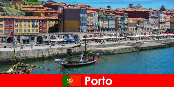 葡萄牙波尔图的游客城市休息,有迷人的酒吧和当地餐馆