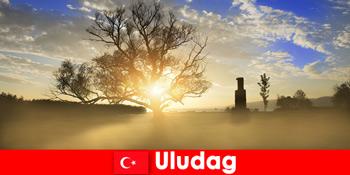 Wanderurlauber erfreuen sich an der schönen Natur in Uludag Türkei