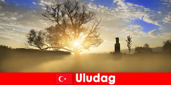 Піші відпочиваючі насолоджуються прекрасною природою в Улудагу Туреччини